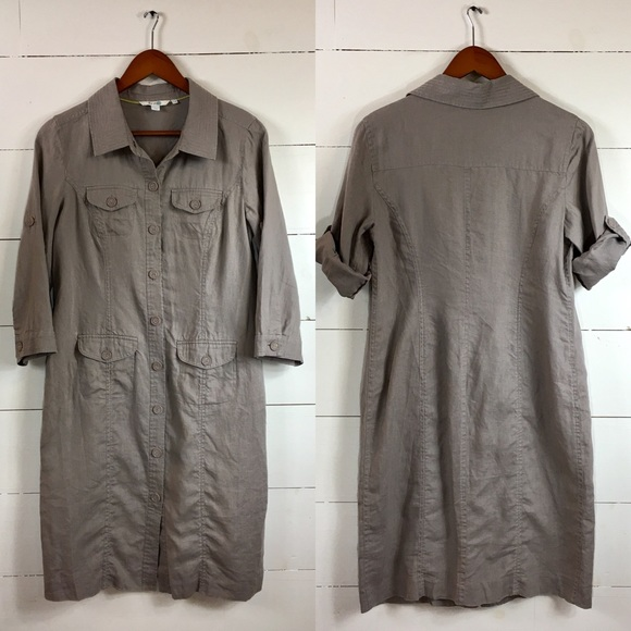buying new sale usa online get new Boden   taupe linen shirt dress midi pockets 6 R